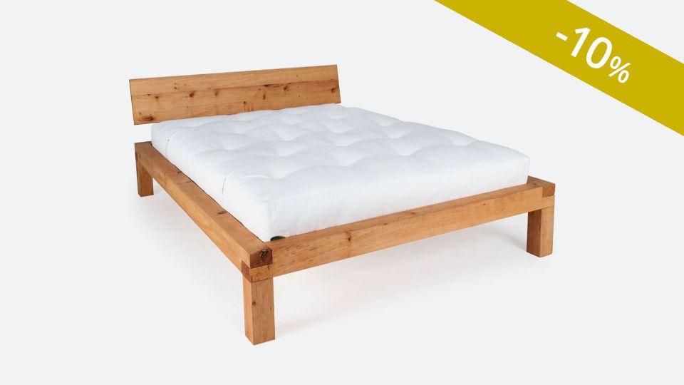 Bett YAK; metallfreies Massivholzbett; vorzüglich geeignet für Naturmatratzen und Futons|Metallfreies Bett YAK aus massivem Zirbenholz
